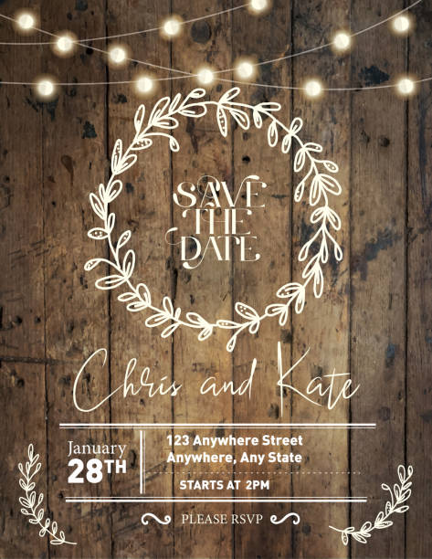 Wedding invitation design template with hand drawn wreath and wooden background with string lights vector art illustration