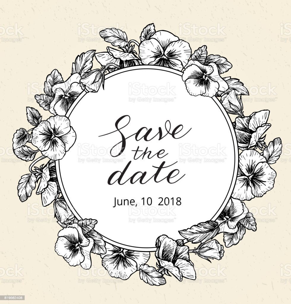 Wedding Invitation Design Template With Save The Date Text And Frame ...