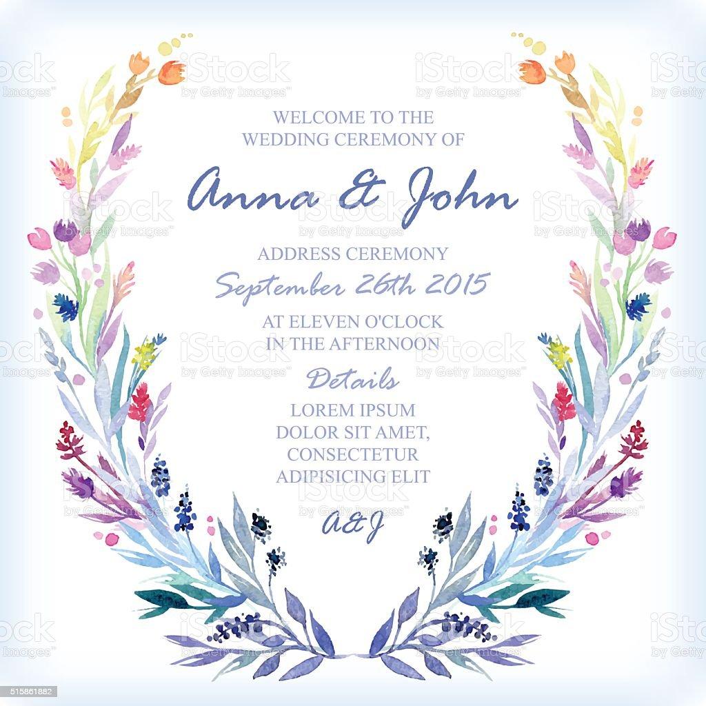 Hochzeit Einladung Designvorlagen Mit Aquarell Blumen Rahmen Stock