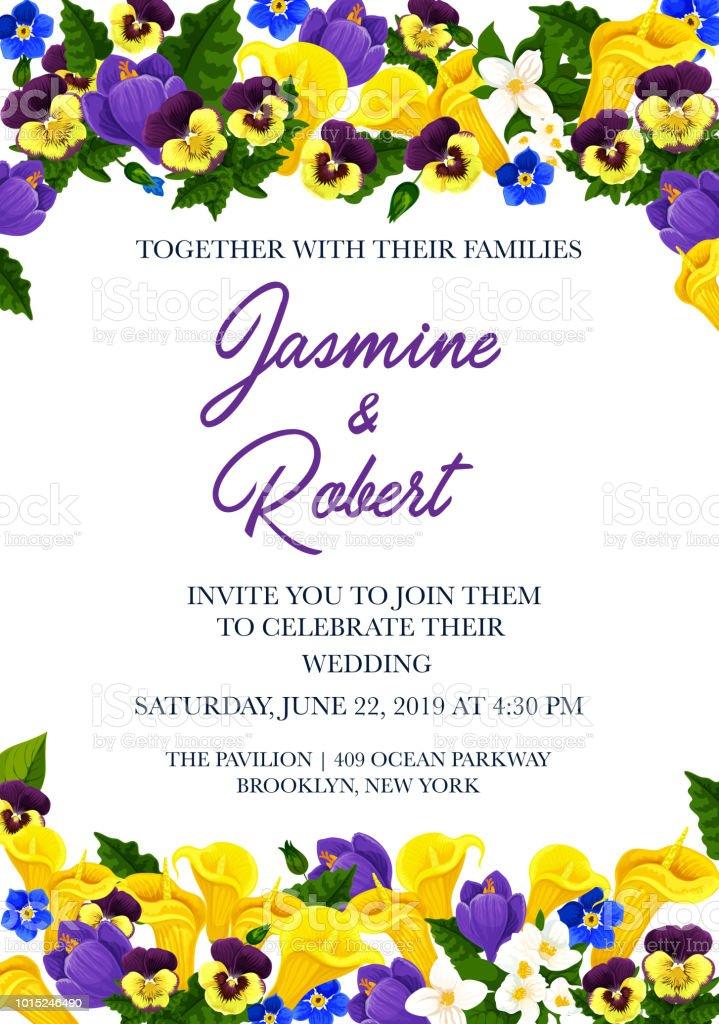 Wedding Invitation Festive Card With Flower Border Stock Vector Art