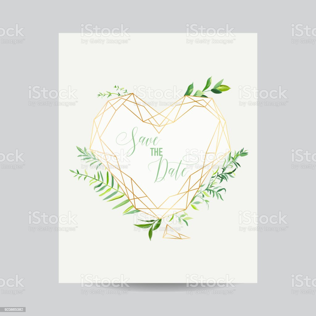 Wedding Invitation Floral Heart Shape Template Save The Date Frame