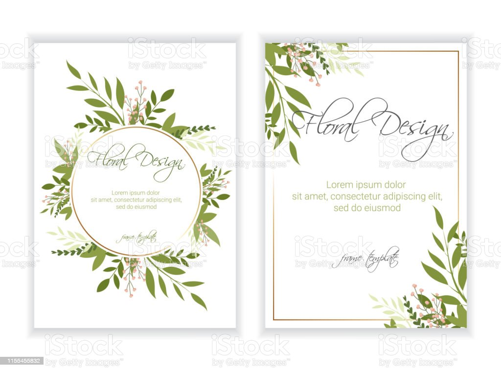 Wedding Invitation Floral Invite Card Design Eps 10 Stock