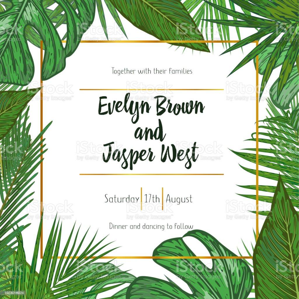 Wedding Invitation Floral Invite Card Design With Green