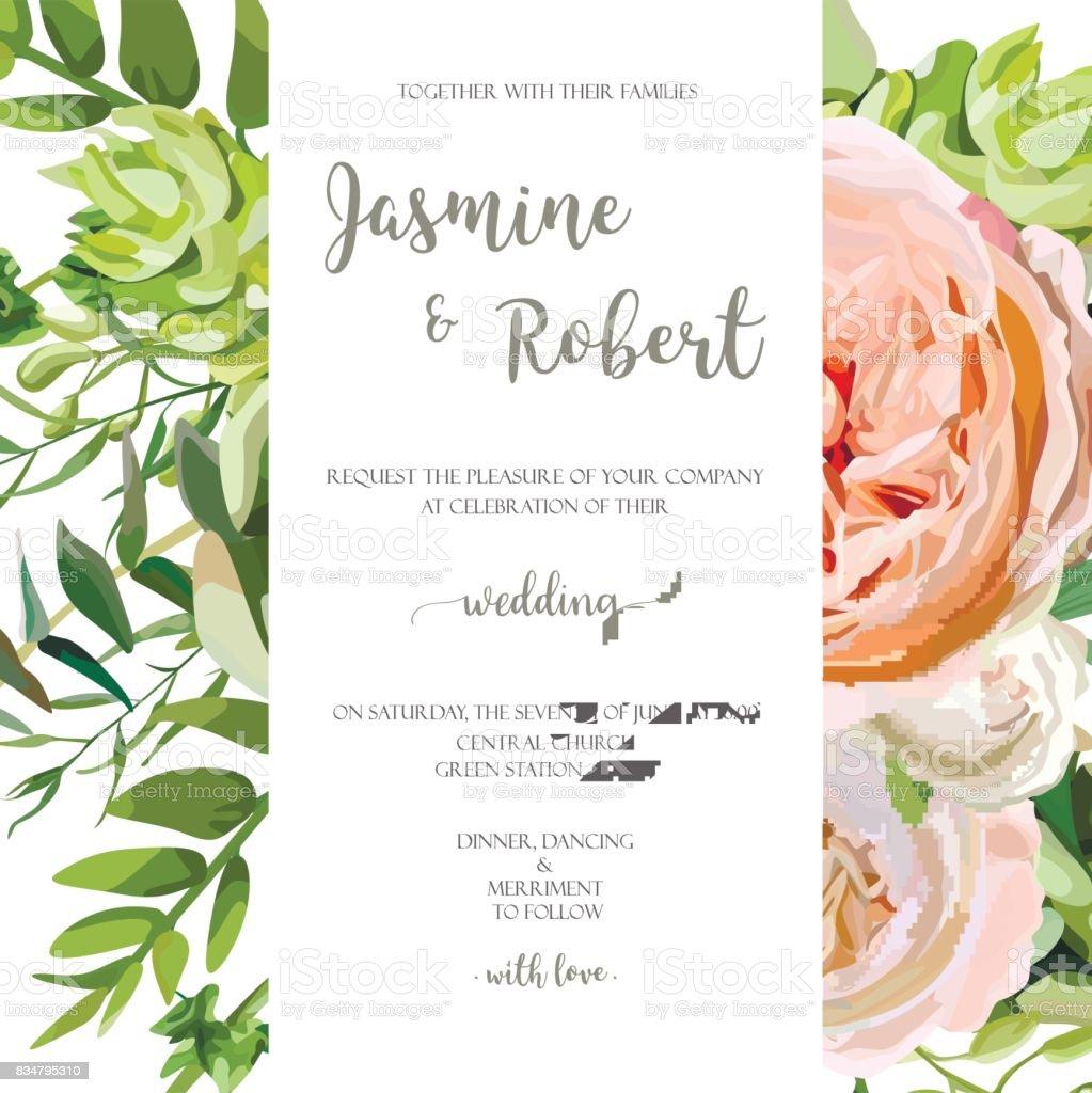 wedding invitation floral invite card with pink garden