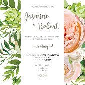 Wedding invitation, floral invite card with pink garden rose, green succulent cactus, flowers, seasonal plants mix. Romantic Template. Vector anniversary design. Elegant cute background isolated white