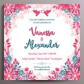 Romantic Wedding Invitation. Floral square card, size is 14.5x14.5 cm.
