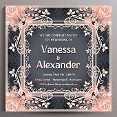 Wedding Invitation. Floral square card, size is 14.5x14.5 cm.