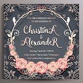 Wedding Invitation. Floral square card 14.5 cm