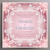 Vintage Wedding Invitation Floral Square Card 145 Cm Stock Vector