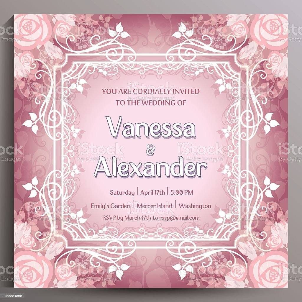 Wedding Invitation Floral Square Card Size Is 145x145 Cm