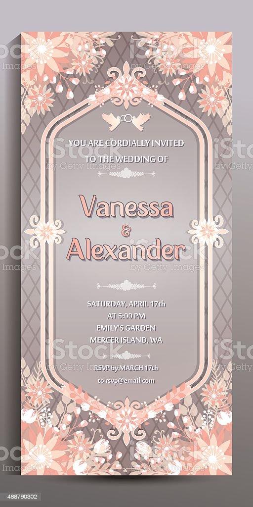 Wedding invitation floral vertical card size is 10x21 cm stock wedding invitation floral vertical card size is 10x21 cm royalty free wedding invitation stopboris Gallery