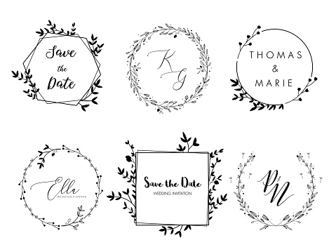 Wedding invitation floral wreath minimal design. Vector template with flourishes ornament elements.