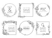 Wedding invitation floral wreath minimal design. Vector template with flourishes ornament elements. stock illustration