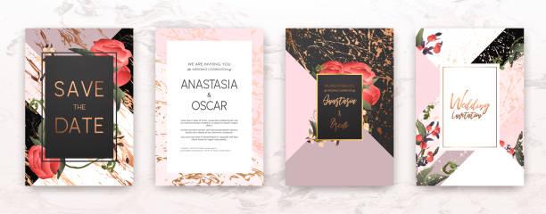 hochzeit einladung-frame-set: blüten, blätter in aquarell, minimale vektor. - blumengirlanden stock-grafiken, -clipart, -cartoons und -symbole