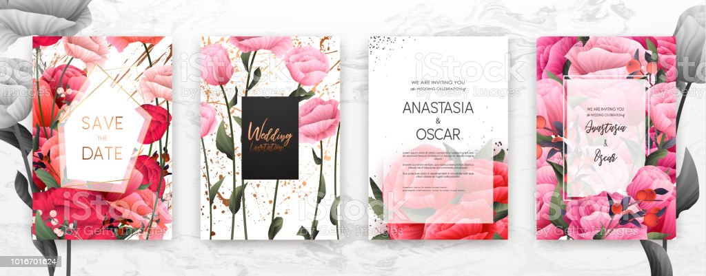 Wedding invitation frame set flowers leaves in watercolor minimal wedding invitation frame set flowers leaves in watercolor minimal vector royalty stopboris Image collections