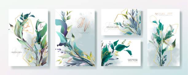 Conjunto de marco de invitación de boda, flores, hojas, desorden y acuarela vector mínimo. - ilustración de arte vectorial