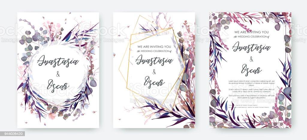 Wedding invitation frame set flowers leaves solated on white stock wedding invitation frame set flowers leaves solated on white royalty free wedding stopboris Image collections