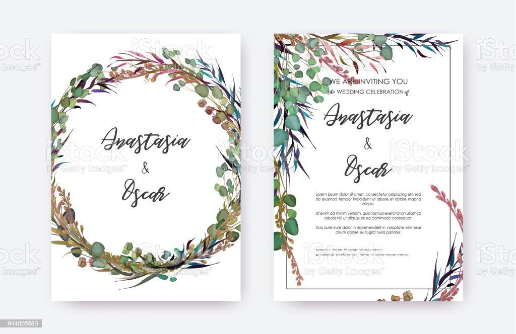 Wedding Invitation Frames: Wedding Invitation Frame Set Flowers Leaves Solated On