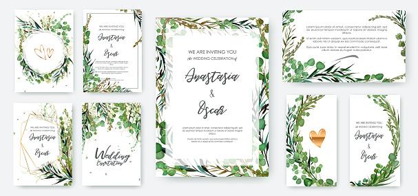 Wedding invitation frame set; flowers, leaves solated on white.