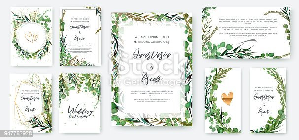 Wedding invitation frame set; flowers, leaves isolated on white. Sketched wreath, floral and herbs garland with green, greenery color. Hand drawn Vector nature art.
