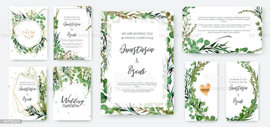Wedding invitation frame set; flowers, leaves solated on white. vector art illustration