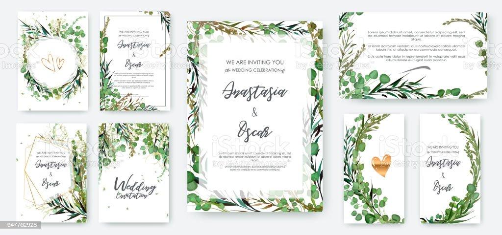 Conjunto de molduras para convite de casamento; flores, solated de folhas em branco. - ilustração de arte em vetor