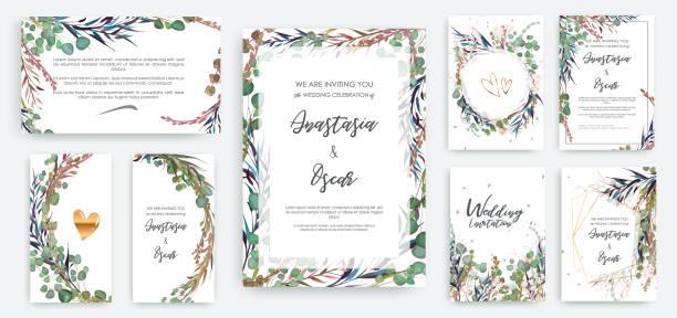 Marco de la invitación de la boda situado; flores, solated hojas en blanco. - ilustración de arte vectorial