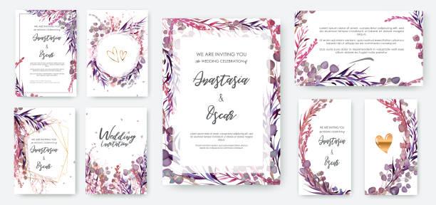 stockillustraties, clipart, cartoons en iconen met bruiloft uitnodiging frame instellen; bloemen, bladeren, aquarel, geïsoleerd op wit. - boho