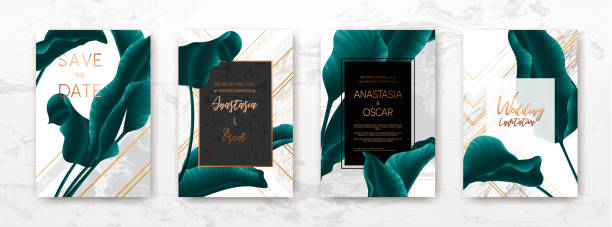 illustrazioni stock, clip art, cartoni animati e icone di tendenza di wedding invitation frame set: palm leaves, marble, gold, vector. - sfondo matrimoni