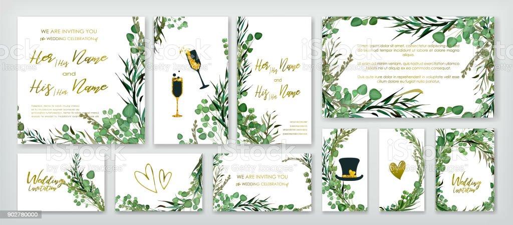 Bruiloft uitnodiging kaderset.vectorkunst illustratie