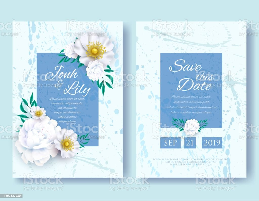 Wedding Invitation Frames Templates Set Peony Stock Illustration