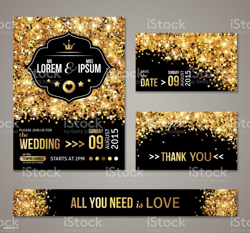 Wedding invitation Gold confetti and black background vector art illustration