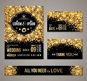 Wedding invitation Gold confetti and black background