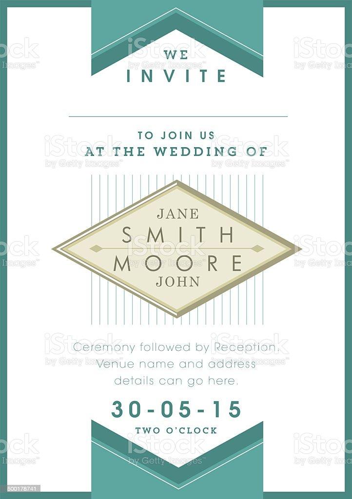 Wedding invitation green ribbon theme vector art illustration