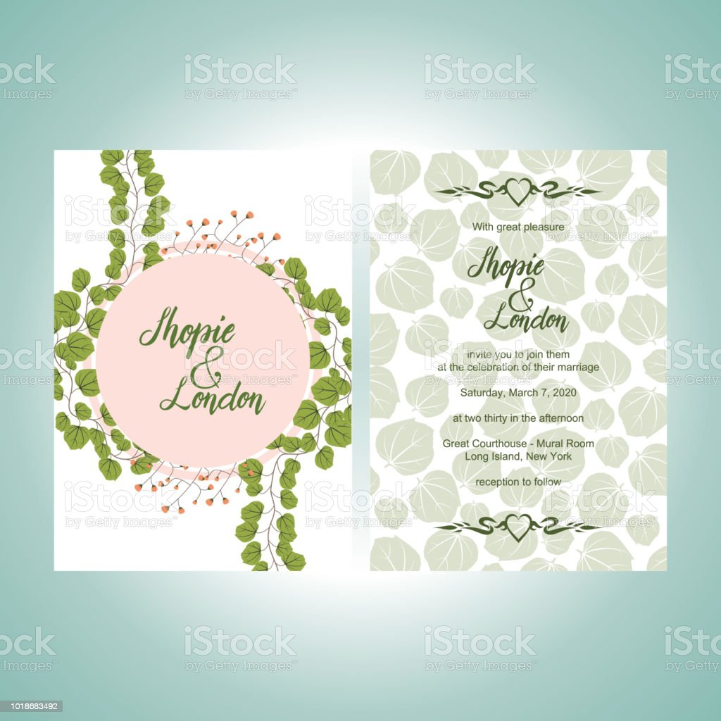 Wedding Invitation Greeting Card Template Elegant Floral Stock