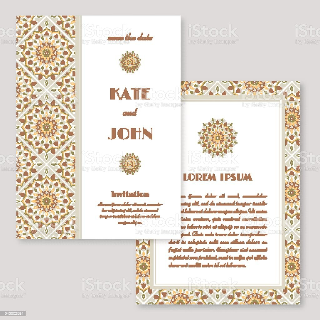 Wedding Invitation Greeting Card With Mandala Pattern Stock Vector ...