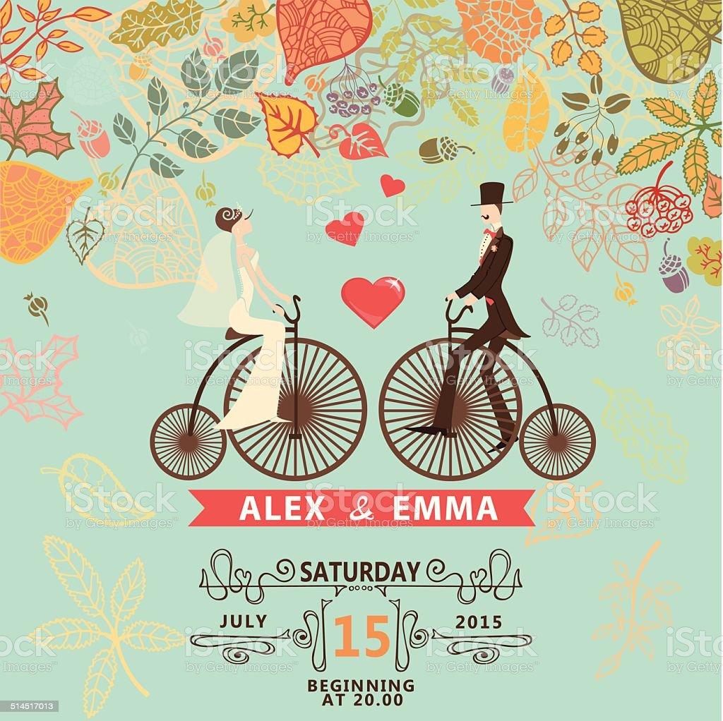 Hochzeit Einladung Groom Braut Retro Fahrrad Herbst Leawes Stock