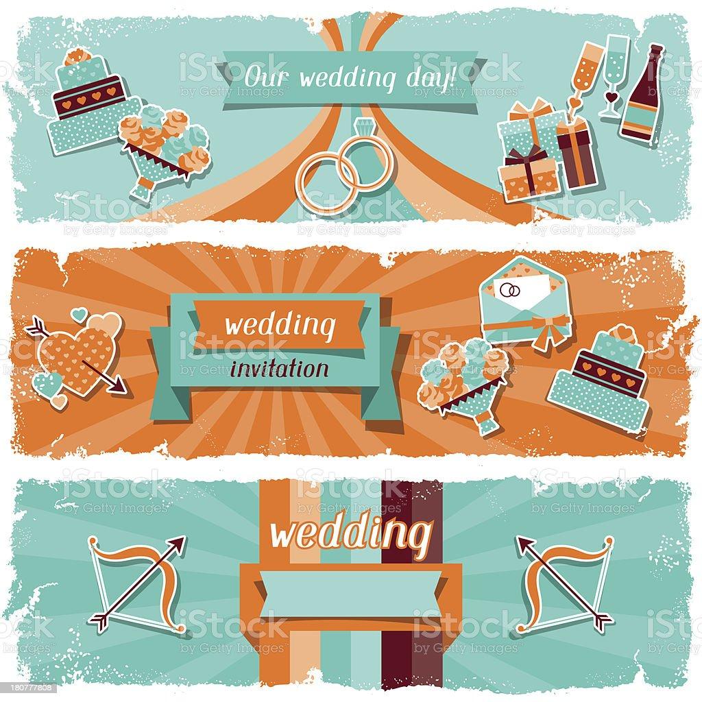 Wedding invitation horizontal banners in retro style. royalty-free stock vector art