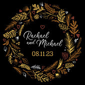 Gold wedding invitation sketched vector wreath pattern background