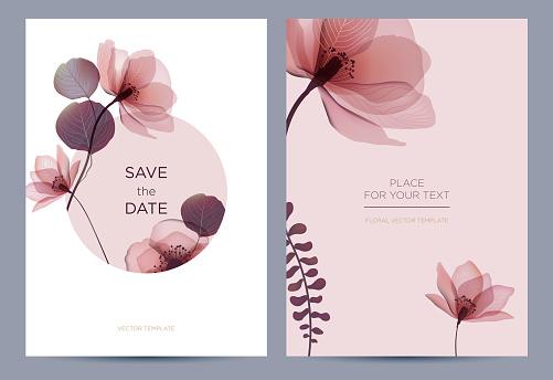 Wedding invitation in the botanical style.