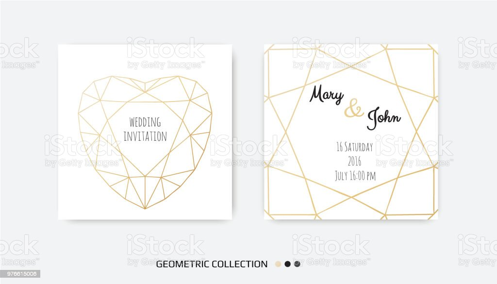 Wedding Invitation Invite Card Design With Geometrical Art Lines