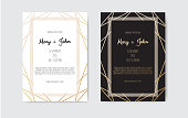 Wedding Invitation, invite card design with Geometrical art lines, gold foil border, frame