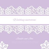 Wedding invitation. Lace background with a place for text.