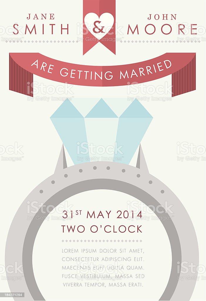 Wedding invitation large ring style vector art illustration