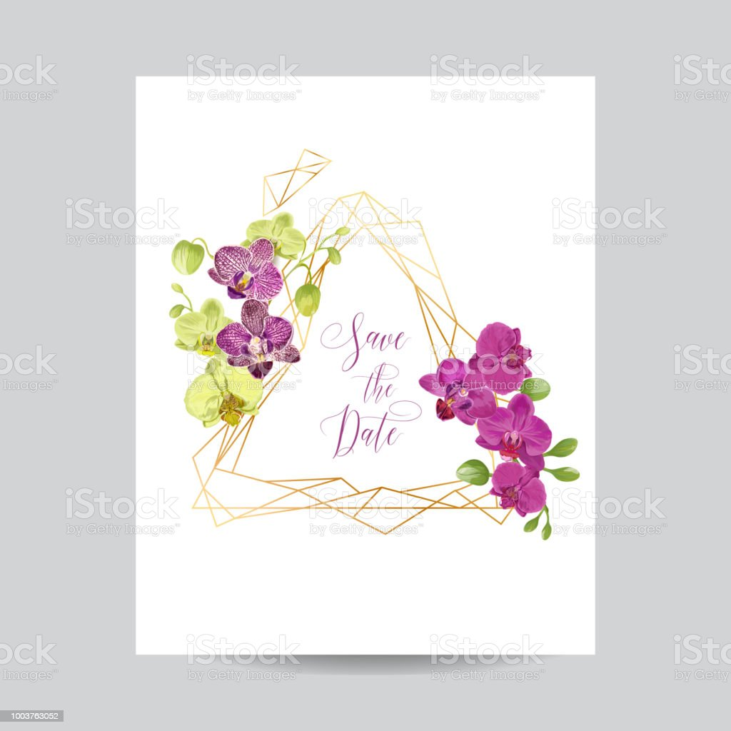wedding invitation layout template with orchid flowers save the date