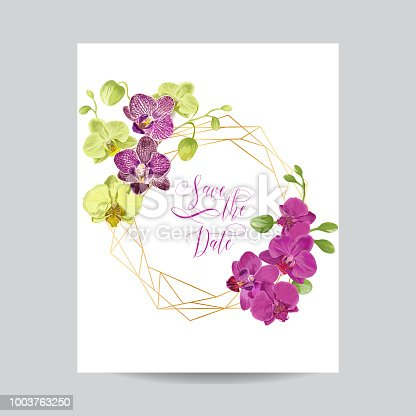 Wedding Invitation Layout Template with Orchid Flowers. Save the Date Floral Card with Golden Frame and Exotic Flowers. Vector illustration