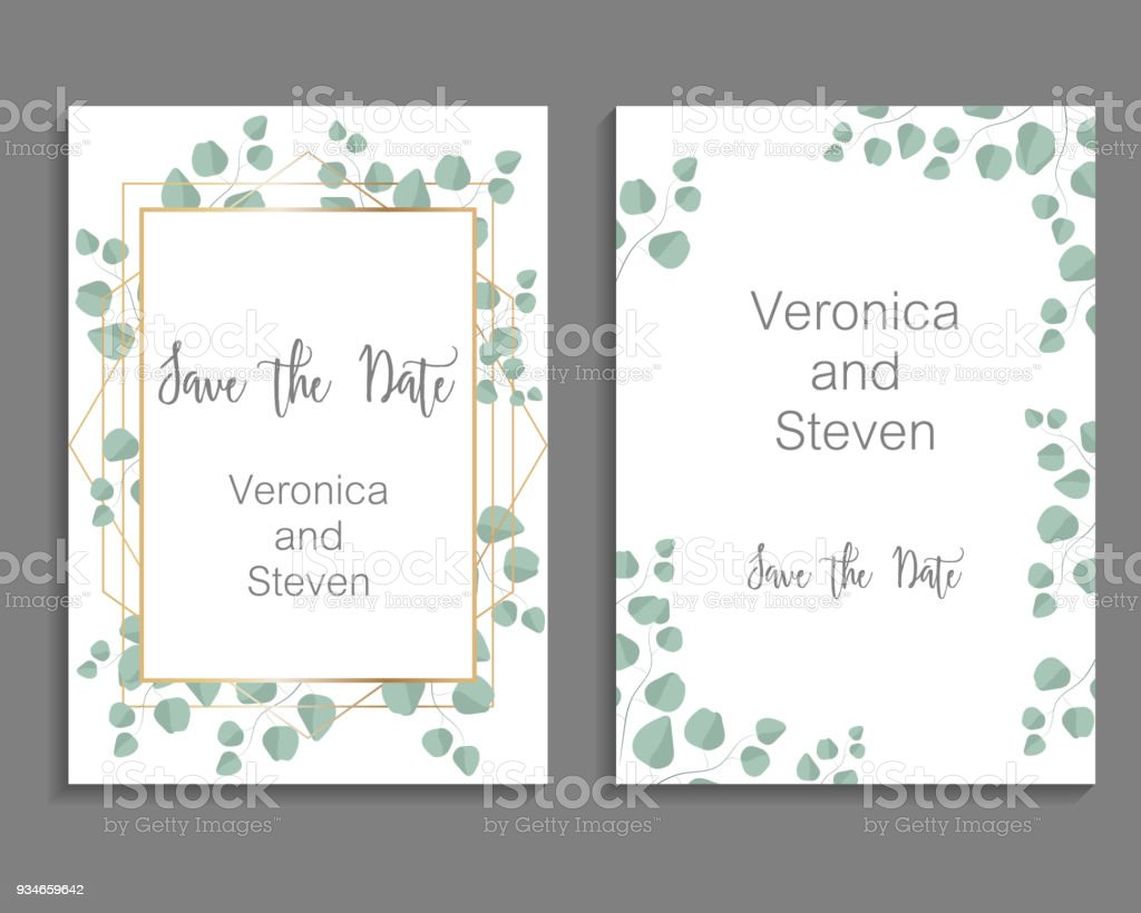 Wedding Invitation Leaves Invite Card Design With Eucalyptus Branch