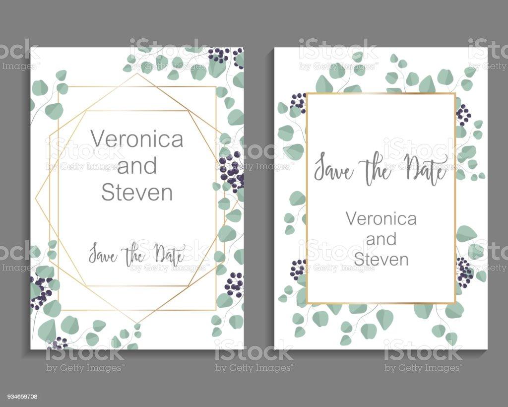 Wedding Invitation Leaves Invite Card Design With Eucalyptus