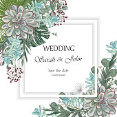 Wedding invitation leaves  isolated on white.  Vector Watercolour.