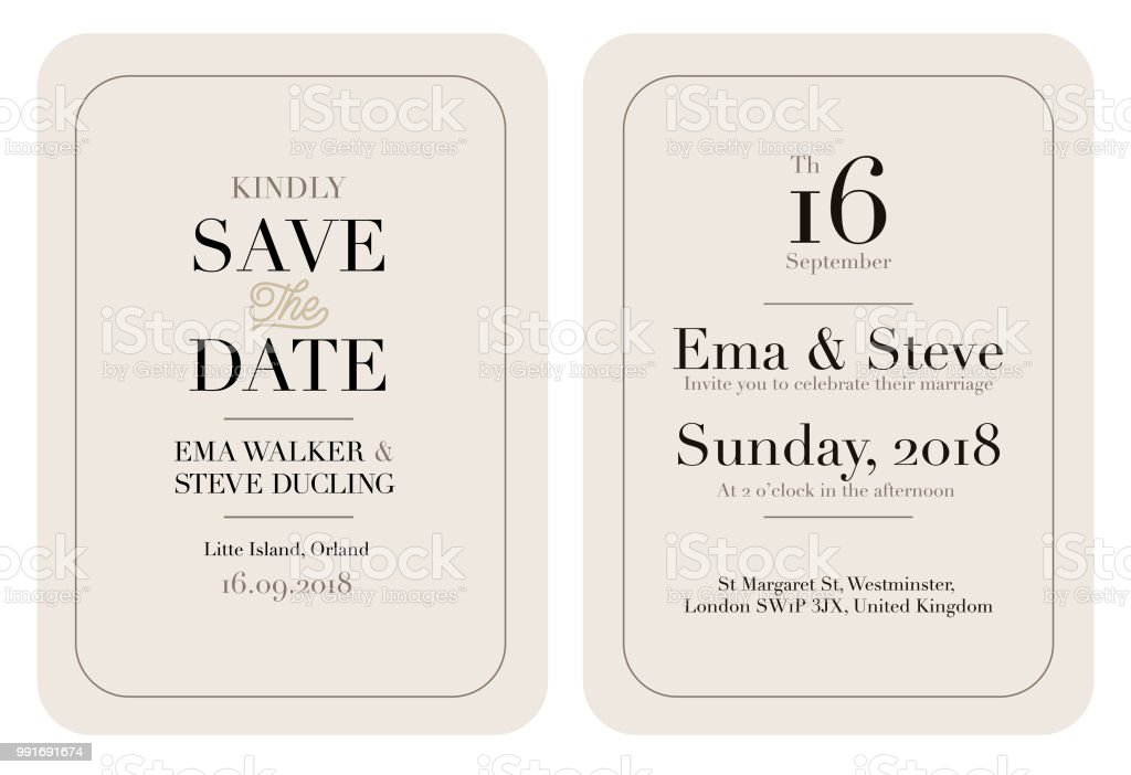 Wedding Invitation Letter Template Stock Illustration